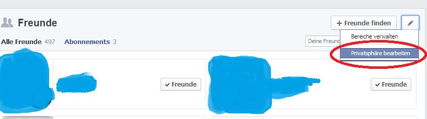 2.) Facebook Freundesliste