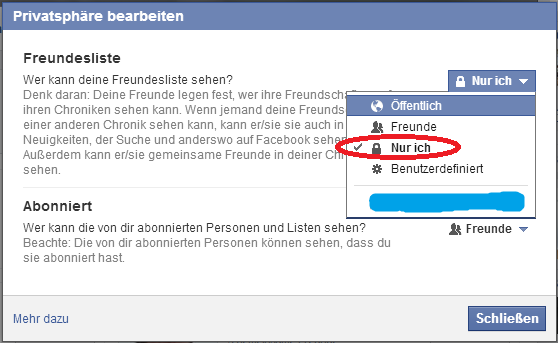 3.) Facebook Freundesliste