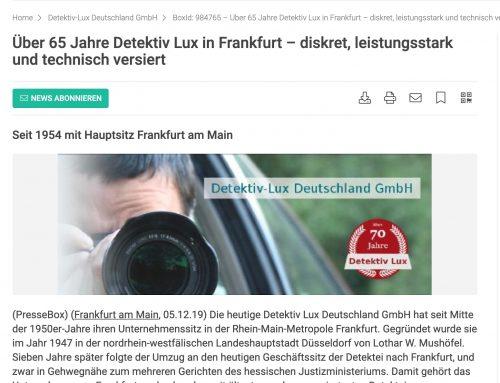 Pressemeldung vom 05.12.2019 bei Pressebox.de
